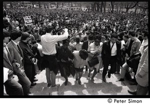 Thumbnail of Demonstration on steps of the Massachusetts State House following the             assassination of Martin Luther King: demonstrators ascending the steps