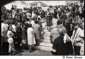 Thumbnail of Demonstration on steps of the Massachusetts State House following the             assassination of Martin Luther King: demonstrators on the steps