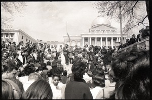 Thumbnail of Demonstration on steps of the Massachusetts State House following the             assassination of Martin Luther King: crowd gathered on the steps