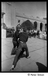 Thumbnail of Street theater (part of a mock execution) in front of Marsh Chapel, Boston University