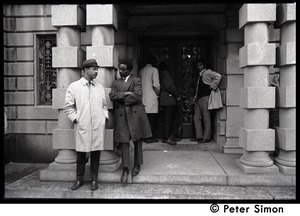 Thumbnail of Umoja (Black student union) activists standing outside of occupied administration building,             Boston University