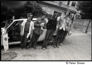 Thumbnail of Five friends standing next to a parked car on a hilly street: Verandah Porche             (second from left)