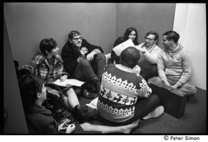 Thumbnail of Protesters sitting in a circle during  the occupation of the University Placement Office,             Boston University, opposing on-campus recruiting by Dow Chemical Co.