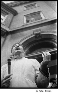Thumbnail of Howard Zinn outside the University Placement Office, Boston University,             addressing protesters demonstrating on-campus recruiting by Dow Chemical Co.