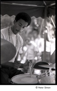 Thumbnail of Roy McCurdy, drummer in Cannonball Adderley Sextet, performing at Jackie Robinson's jazz concert