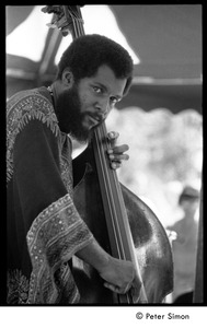Thumbnail of Victor Gaskin, bass player with the Cannonball Adderley Sextet, performing at Jackie Robinson's jazz concert