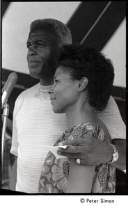 Thumbnail of Jackie and Rachel Robinson standing at the microphone