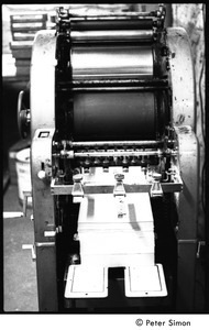 Thumbnail of Liberation News Service printing press: nicknamed Johnny (later removed to the             Montague Farm commune)