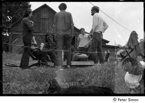 Thumbnail of Communards by the barn, Packer Corners commune, including Verandah Porche (far             left) and Michael Gies (seated, facing camera)