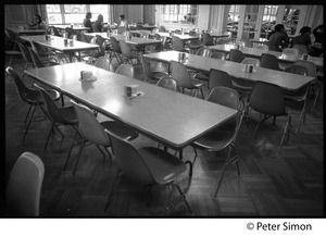Thumbnail of Nearly empty dining room at Shelton Hall: shut down by a strike