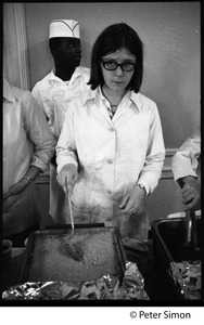 Thumbnail of Cafeteria workers dishing out food at Shelton Hall during one-day strike, Boston University