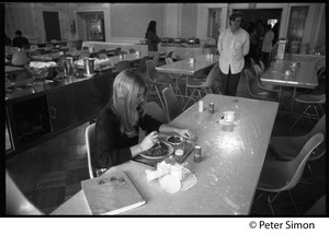 Thumbnail of Nearly empty dining room during the one-day strike at Shelton Hall, Boston             University (Jeff Albertson in background)
