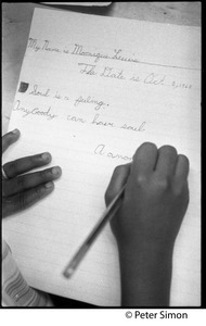Thumbnail of Close-up of child writing: 'My name is Monique Leucie... Soul is a feeling.             Anyboody can have soul': Liberation School, Boston, Mass.