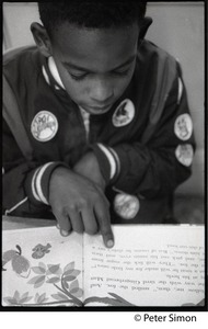 Thumbnail of Boy reading at his desk, Liberation School, Boston, Mass.