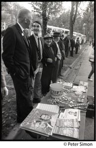Thumbnail of Wallace supporters with table of give-aways at the George Wallace rally on Boston Common
