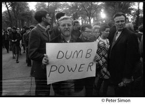 Thumbnail of Protester at the George Wallace rally on Boston Common carrying a sign reading             'Dumb power'
