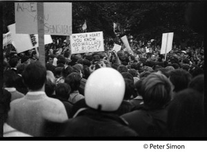 Thumbnail of Crowd at the George Wallace rally on Boston Common, with sign reading 'In your             heart you know Geo Wallace is right'