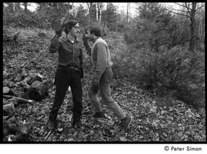 Thumbnail of Raymond Mungo and Elliot Blinder (l. to r.), gathering firewood, Packer Corners commune