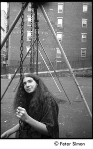 Thumbnail of Sarah on a playground swingset, Beacon Hill