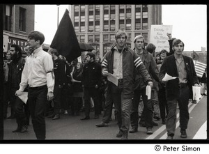 Thumbnail of Students for a Democratic Society protest march against the war in Vietnam,             possibly Lawrence, Mass. Sign reads 'Bring all US forces home from Vietnam'