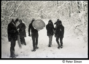 Thumbnail of Communards trudging through the snow at Packer Corners with sleds
