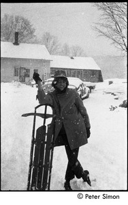 Thumbnail of Peter Simon with sled, Packer Corners commune