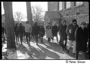 Thumbnail of Students marching to demonstration: white student support for Brandeis University African American student protest