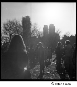 Thumbnail of Crowd, back-lit, at the Be-In, Central Park, New York City