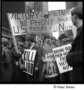 Thumbnail of Antiwar demonstrators with banners 'Victory for Vietnam, no phony talks, US             troops out now'
