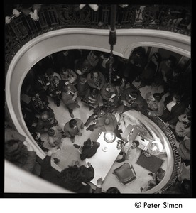 Thumbnail of Antiwar protesters occupying University Hall, Harvard (?): looking down a             stairway at occupying students and press