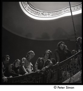 Thumbnail of Antiwar protesters occupying University Hall, Harvard (?):occupiers on the             stairway