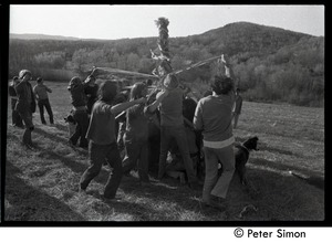 Thumbnail of Revelers dancing around the Maypole, Packer Corners commune Includes: Raymond Mungo (third from left), Jesse Kornbluth (foreground left),         Tom Fels (foreground right)
