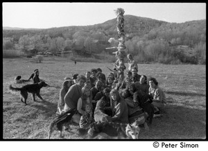 Thumbnail of Revelers seated around the Maypole, Packer Corners commune Includes: George Jacobs, Jim Ord, Don McLean and wife Phoebe, Citti, Brian             Kelly, Tom Fels, Jesse Kornbluth, Steve Sayer, Michael Gies, Sam Lovejoy