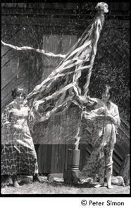 Thumbnail of May Day at Packer Corners commune: Verandah Porche (right) and Phoebe McLean with maypole (partial double exposure)
