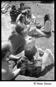 Thumbnail of May Day at Packer Corners commune: preparing lunch Includes Steve Sayer (rear left), Susan Mareneck (center), Jim Aaron (to             left of Mareneck), Verandah Porche (facing camera, center)