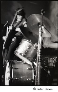 Thumbnail of Jeff Beck Group performing at the Boston Tea Party: Ron Wood (bass) and drum             kit