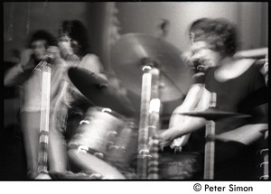 Thumbnail of Jeff Beck Group performing at the Boston Tea Party: Rod Stewart (vocals), Jeff             Beck (guitar) and Tony Newman (drums)