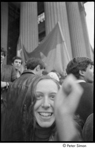 Thumbnail of MIT war research demonstration: Lacey Mason among demonstrators