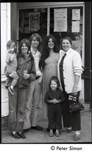 Thumbnail of Communards at a Watroba's grocery store, Montague Center Includes James Tapley (3d from left) and Catherine (Hutchison) Rogers, pregnant (2nd from right)