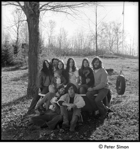 Thumbnail of Tree Frog Fambly: Bonnie Fisher, Harry Saxman, Michelle Perkins, Lacey Mason,             Jenny Rose, Catherine Marriot, dog, Elliot Blinder (top row); Peter Simon with cat, Tim             Rossner (bottom row)