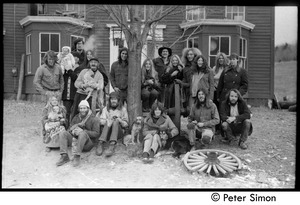 Thumbnail of Commune members posed in front of the house, Montague Farm commune Back row (l. to r.): Sam Lovejoy, James Tapley (with baby), Steve Marsden,             Catherine Rogers, Alex Kelly (with cat), Harvey Wasserman, Nancy Wasserman, Steve             Diamond, Betsy Corner, Chuck Light, Nina Keller, Pat, Citti; front row: Janis Frey with             baby Sequoya), Rick Edelman; Whit Garberson; Laura Bradley; Tony Mathews; Michael Curry