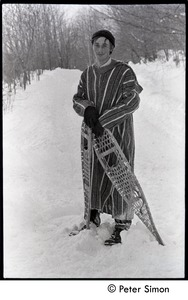 Thumbnail of Fritz Hewitt with snowshoes, deep snow, Tree Frog Farm commune