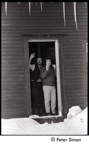 Thumbnail of Richard Wizansky (right) and Raymond Mungo, waving from the doorway, Tree Frog             Farm commune