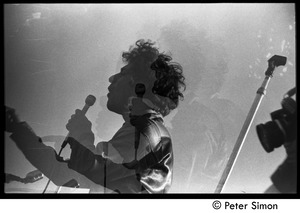 Thumbnail of Abbie Hoffman speaking at the Moratorium (double exposure) Moratorium to End the War in Vietnam protest on Boston Common