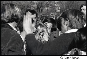 Thumbnail of Protesters arguing Moratorium to End the War in Vietnam protest on Boston Common