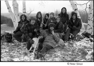 Thumbnail of Group portrait: (l.-r.) Elliot Blinder, Harry Saxman, Catherine Blinder, Bonnie Fisher, Peter Simon, Lacey Mason, Jenny Rose, and Tim Rossner with dogs