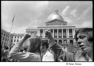 Thumbnail of Kent State Shooting Demonstration at the Boston State House: protestors gathered on the State House steps and lawn