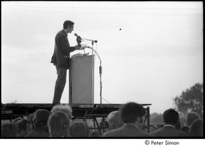 Thumbnail of Anti-war rally at Soldier's Field, Harvard University: Howard Zinn speaking to demonstrators