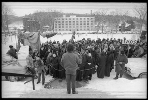 Thumbnail of Man addressing a  group of antiwar demonstrators protesting the invasion of Laos in front of the Vermont State House