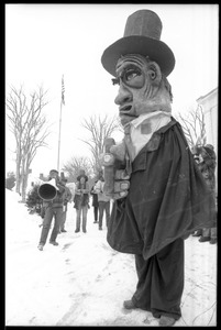 Thumbnail of Large puppet from Bread and Puppet Theater, during a demonstration against the             invasion of Laos at the Vermont State House